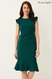 Phase Eight Green Stella Bow Detail Dress