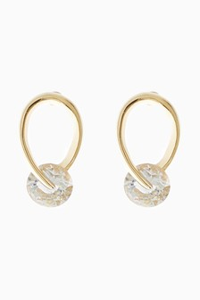 18 Carat Gold Plated Organic Jewel Earrings