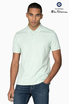 Ben Sherman Green Script Tipped Pique Polo
