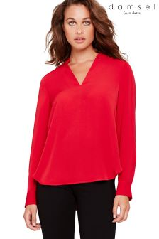 Damsel In A Dress Red Hailey V-Neck Blouse With Gold Buttons