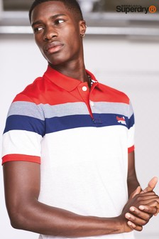 Superdry Red, Navy And White Feeder Poloshirt