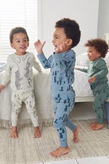 3 Pack Multi Woodland Animal Snuggle Pyjamas (9mths-8yrs)
