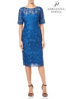 Adrianna Papell Blue Short Guipure Dress