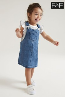 F&F Denim Pinafore And T-Shirt Set
