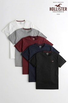 Hollister Basic Rundhals-T-Shirts, 5er-Pack