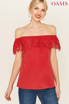 Oasis Red Lace Trim Bardot Shirt