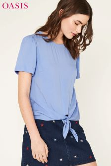 Oasis Blue Tie Front Viscose Tee