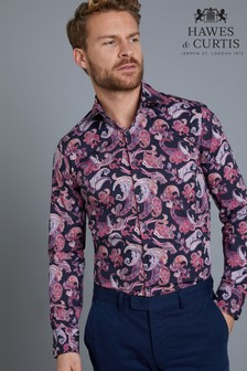 Hawes & Curtis Blue/Red Paisley Stretch Shirt