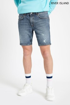 River Island Mid Blue Slim Denim Short