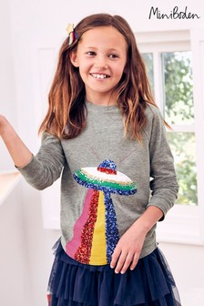 Boden Grey Sequin Appliqué T-Shirt