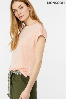 Monsoon Pink Lottie Linen T-Shirt