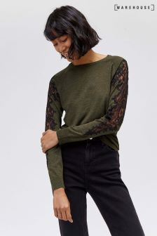 Warehouse Khaki Lace Insert Jumper