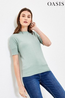 Oasis Green Pippa Pointelle Scallop Jumper