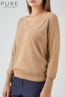 Pure Collection Tan Toccato Raglan Sweater