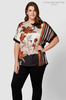Live Unlimited Brown Ginger Floral Colour Block Printed Top
