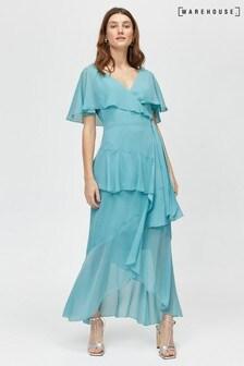 Warehouse Blue Ruffle Wrap Dress