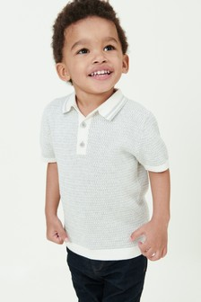 Short Sleeve Textured Knitted Polo (3mths-7yrs)