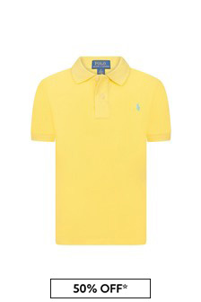 Ralph Lauren Kids Boys Yellow Piqué Polo Shirt