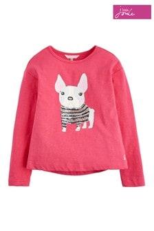 Joules Deep Pink Sequin Pug Jersey Top