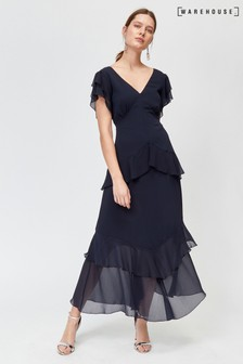 Warehouse Chiffon Tiered Maxi Dress