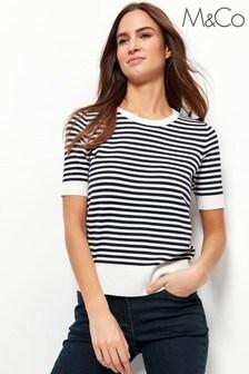 M&Co Blue Short Sleeve Striped Jumper