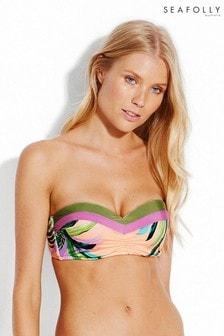 Seafolly Peach Las Palmas Bustier Bandeau Bikini Top