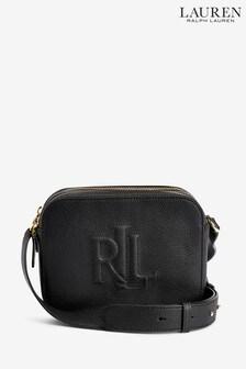 Ralph Lauren Black Leather Embossed Hayes Cross Body Bag