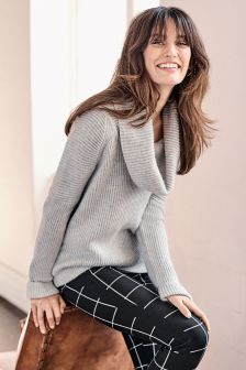 Pure Collection Grey Toccato Ribbed Cowl Neck Sweater
