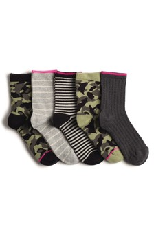 Camo/Stripe Ankle Socks Five Pack
