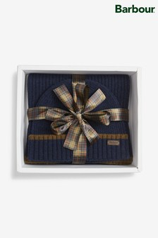 Barbour® Cromer Beanie Navy Scarf Gift Set