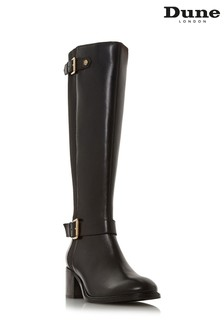 Dune London Black Block Heel Knee High Boot