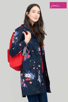 Joules Blue Rainelong Print Waterproof Jacket