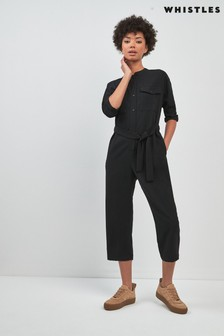 Whistles Black Utility Crepe Jumpsuit