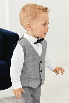 Check Waistcoat, Shirt And Bow Tie Three Piece Set (3mths-7yrs)