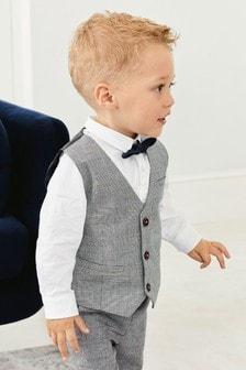 方格西裝背心、襯衫和蝴蝶結綁帶三件式套裝 (3個月至7歲)