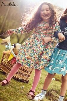 Boden Multi Flowered Long Sleeved Smocked Dress