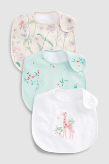 Embroidered Giraffe Regular Bibs Three Pack
