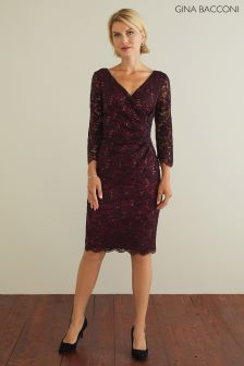 Gina Bacconi Red Iniki Sparkle Stretch Lace Dress