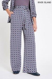 River Island Petite Blue Print Trouser