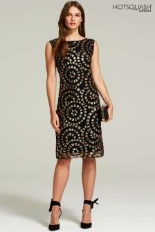HotSquash Gold Circles Sleeveless Sequin Dress