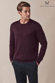 Crew Clothing Company Purple Merino Crew Neck Jumper