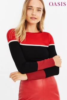 Oasis Red/Black Colourblock Top