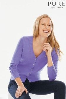 Pure Collection Purple Cashmere V-Neck Cardigan