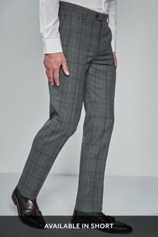 Tailored Fit Prince Of Wales Check Suit: Trousers