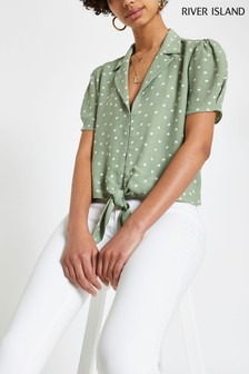 River Island Green Spot Tie Front Shirt