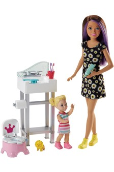 Barbie Babysitting Playset With Doll And Flipping Potty Seat
