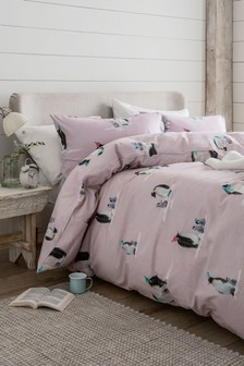 Brushed 100% Cotton Penguins Duvet Cover and Pillowcase Set