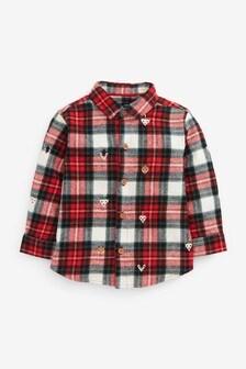 Check Long Sleeve Christmas Shirt (3mths-7yrs)