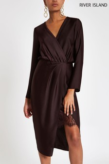 River Island Wrap Long Sleeve Satin Dress