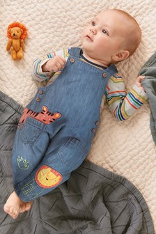 Animal Dungarees And Stripe Bodysuit Set (0mths-2yrs)